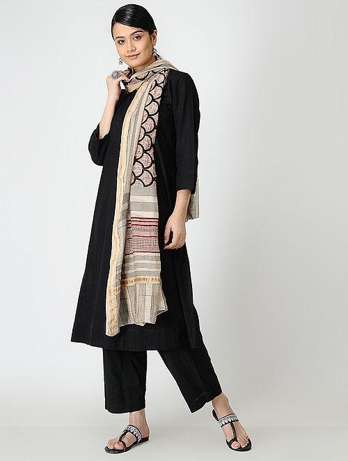 Madder-Black Bagh-printed Silk Cotton Dupatta