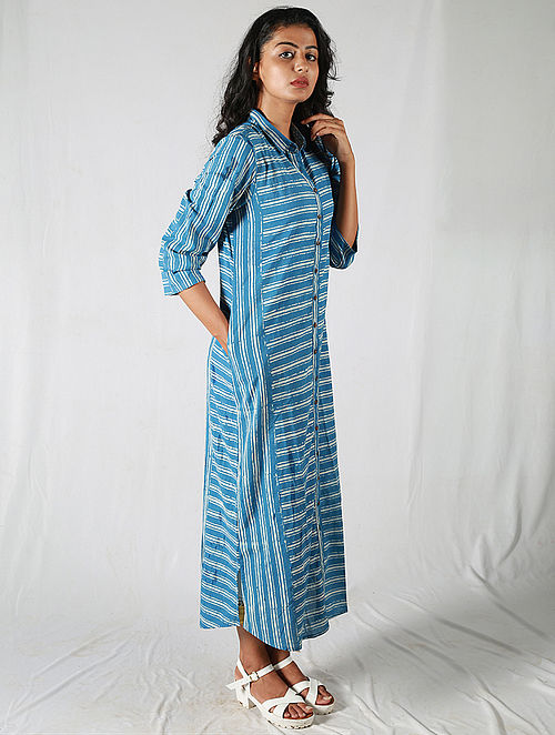 Blue-Ivory With Pocket Striped Cotton Kurta