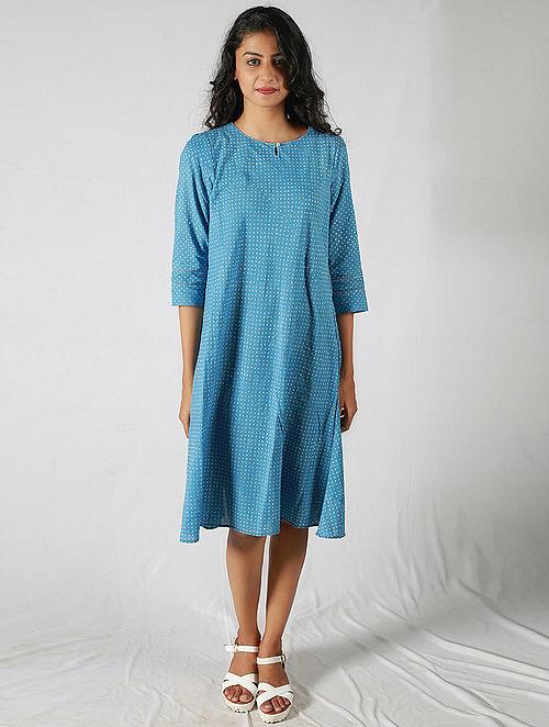 Blue-Ivory Printed Cotton Dress