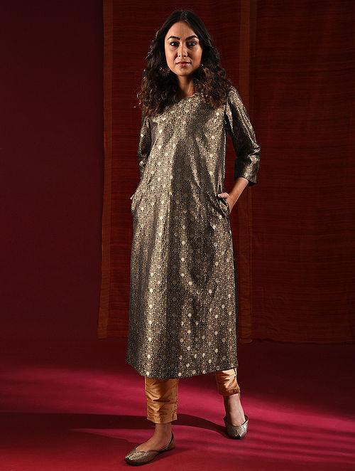 RAZIA - Brown Handloom Benarasi Silk Brocade Kurta