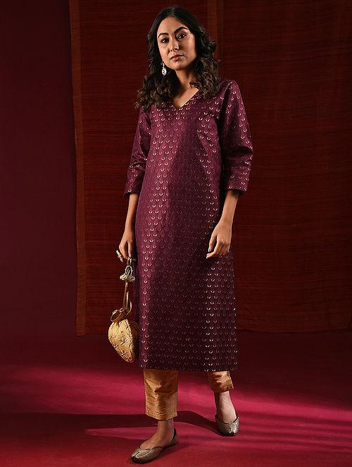 HAZRAT MAHAL - Maroon Handloom Silk Benarasi Brocade Kurta