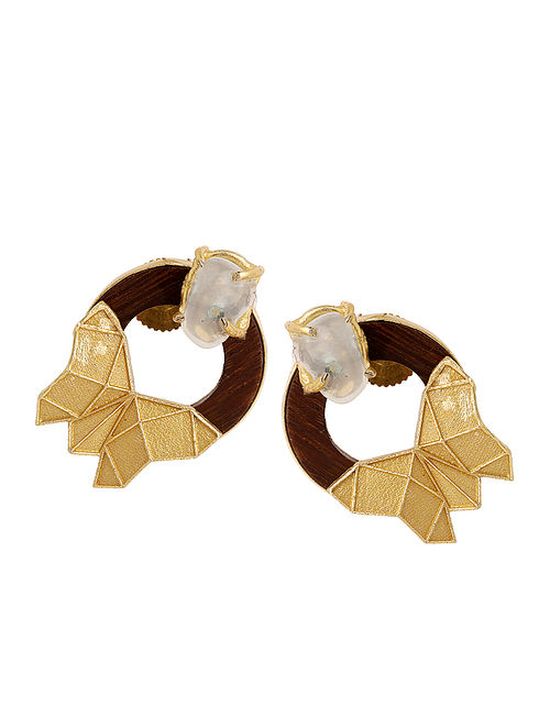 Brown Gold Tone Rosewood and Brass Stud Earrings
