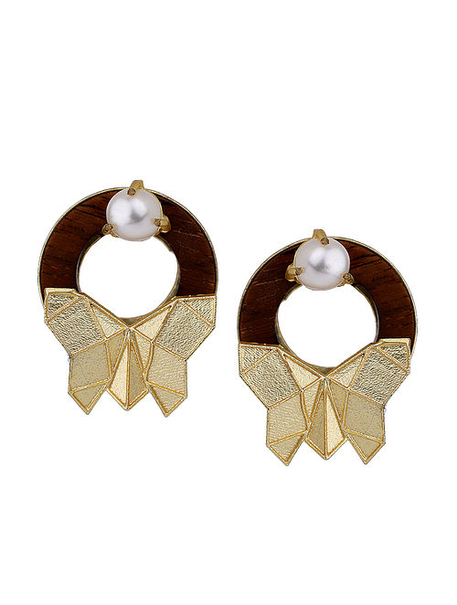 1f08bd966 Buy Brown Gold Tone Rosewood Pearl and Brass Stud Earrings ...