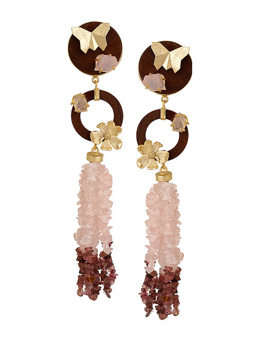 White-Brown Gold Tone Rosewood Rose Quartz and Brass Earrings