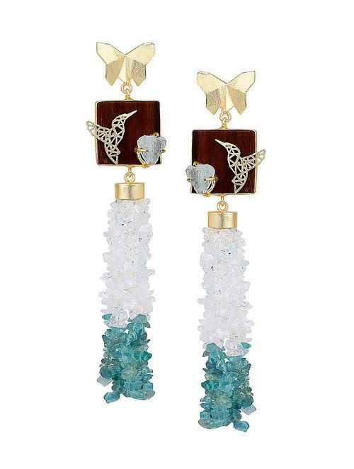 Blue-White Gold Tone Rosewood Aqua Apetite and Brass Earrings
