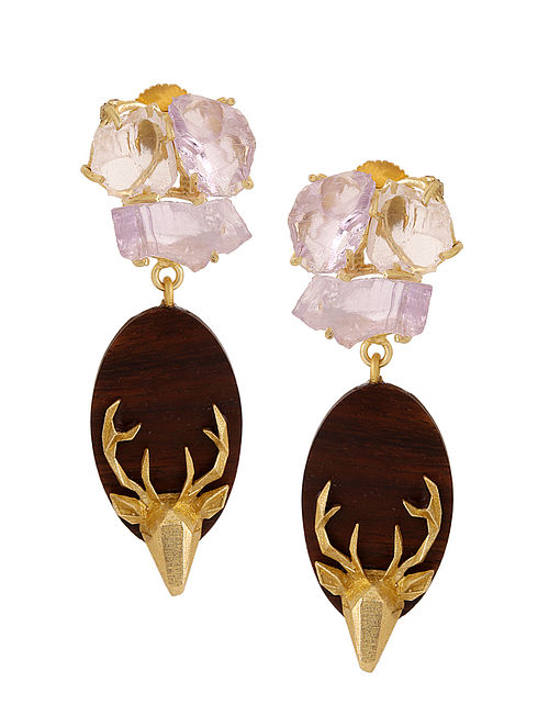 Brown-Pink Gold Tone Rosewood Amethyst and Brass Earrings