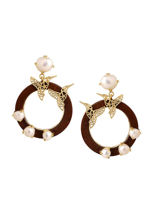 Brown-White Gold Tone Pearl and Brass Earrings