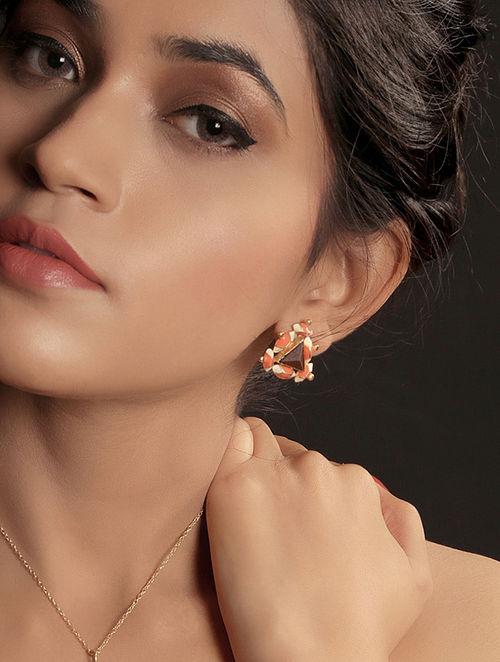 Orange-White Enamel Handcrafted 3D Cut Wood Stud Earring