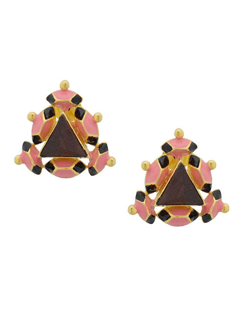 Black-Pink Enamel Handcrafted 3D Cut Wood Stud Earring