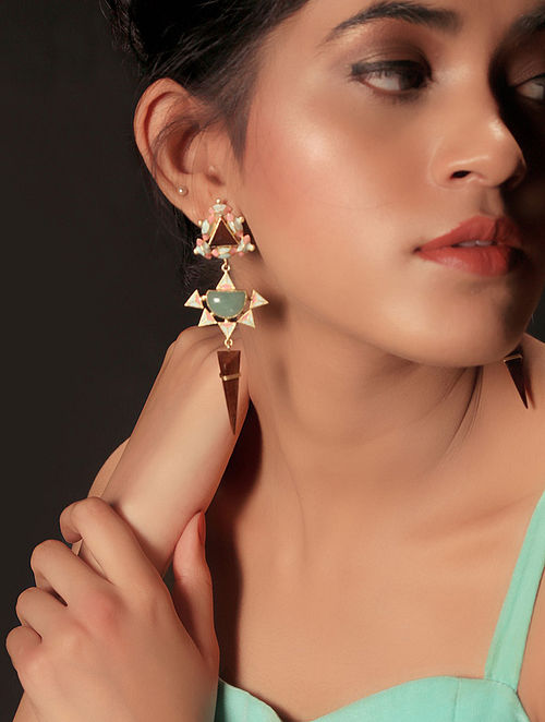 Pink-Blue Enamel Handcrafted 3D Cut Wood Earring