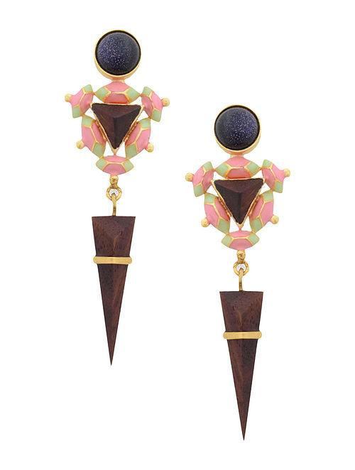 Pink-Green Enamel Handcrafted 3D Cut Wood Earring