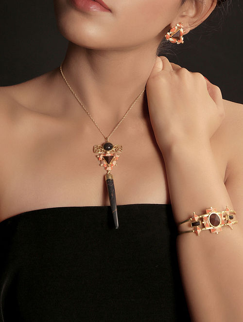 Orange Enamel Handcrafted 3D Cut Wood Necklace
