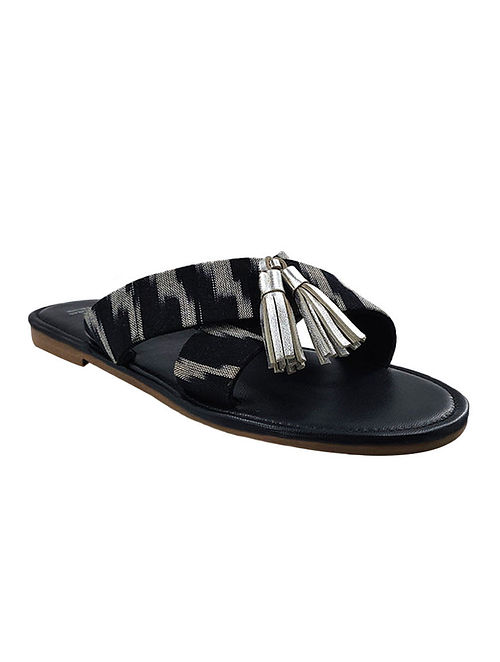 Black Silver Handcrafted Ikat Leather Flats