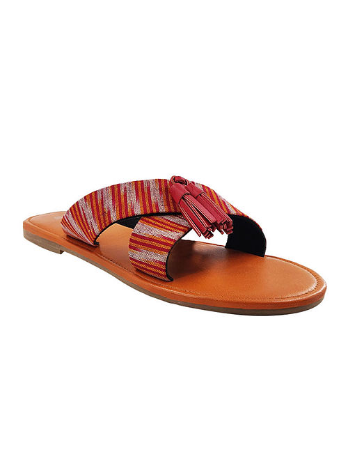 Red Orange Handcrafted Ikat Leather Flats