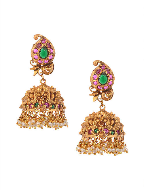 Green Pink Gold Tone Temple Work Earrings with Pearls