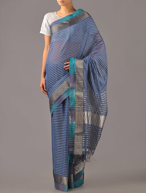 Slate Blue Maheshwari Silk Cotton Saree