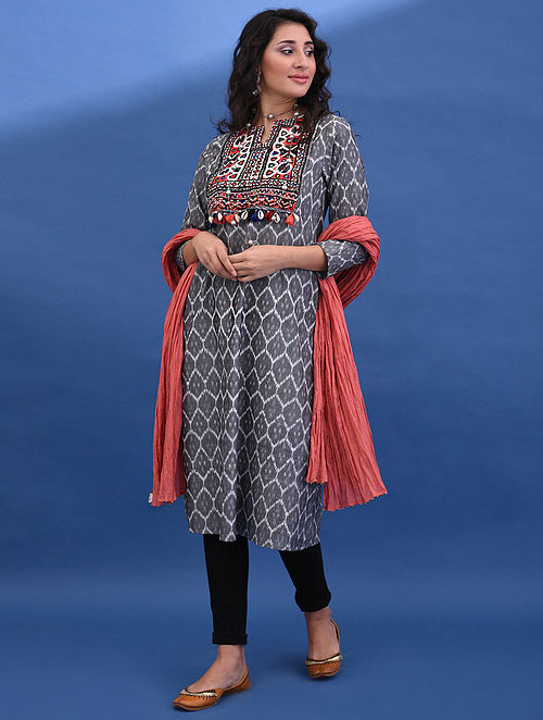 RANKI VAV - Grey Handloom Ikat Cotton Kurta with Vintage Embroidered Yoke and Tassels