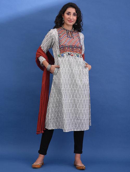 ADI-KADI VAV - White Handloom Ikat Cotton Kurta with Vintage Embroidered Yoke and Tassels