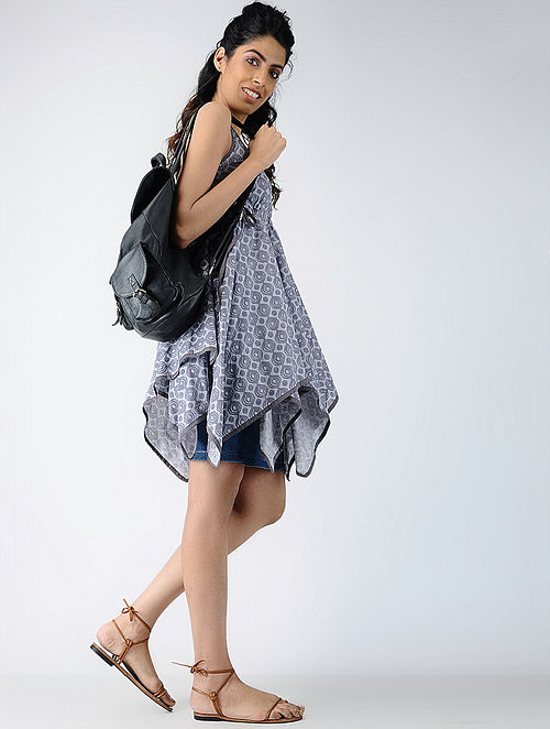 Grey Printed Cotton Flared Top with Tie-ups
