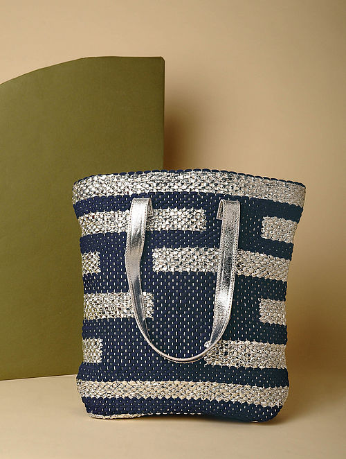 Blue Handcrafted Recycled Cotton Tote Bag