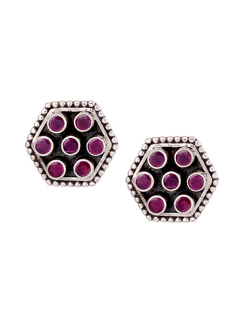 Maroon Silver Stud Earrings