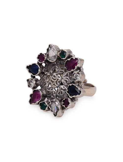 Multicolored Tribal Silver Adjustable Ring