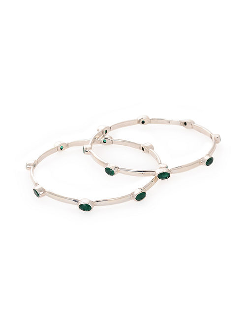 Green Silver Bangles (Set of 2)
