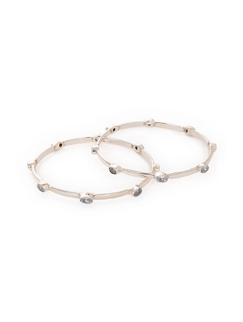 Classic Silver Bangles (Set of 2)