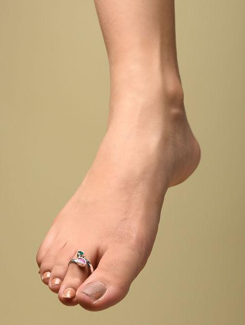 Maroon Green Silver Adjustable Toe Rings (Set of 2)