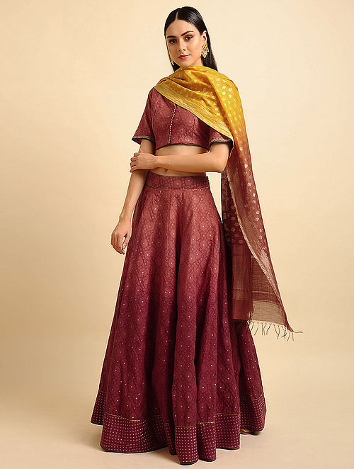 Red Ombre Silk Cotton Cutwork Lehenga with Zari