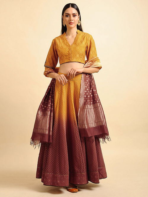 Yellow Ombre Silk Cotton Cutwork Lehenga with Zari