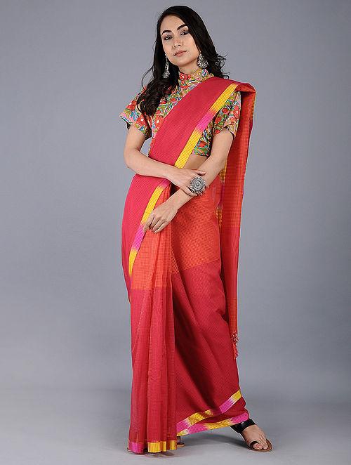 Red-Pink Missing Checks Maheshwari Saree