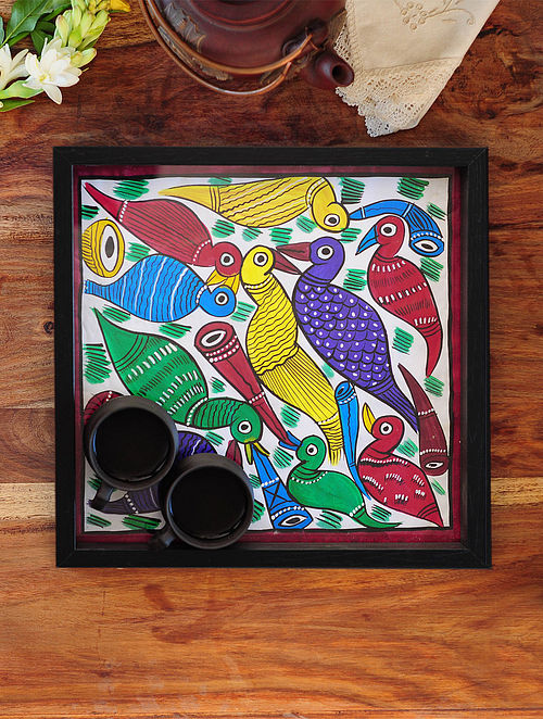 PeacockDesign Pattachitra Painting Wooden Tray 12.5in x 12.5in