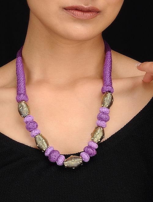 Purple Gold Tone Dhokra Necklace
