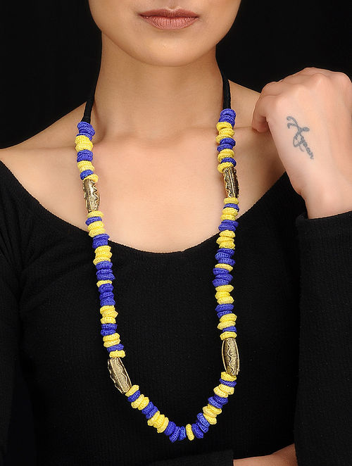 Blue-Yellow Gold Tone Dhokra Necklace