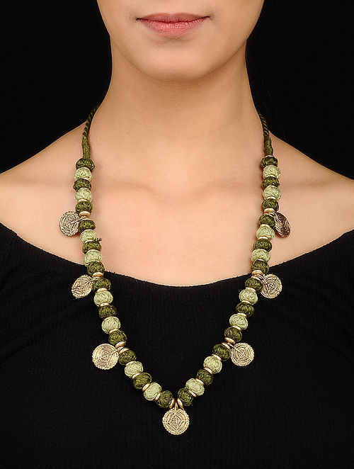 Green Gold Tone Necklace