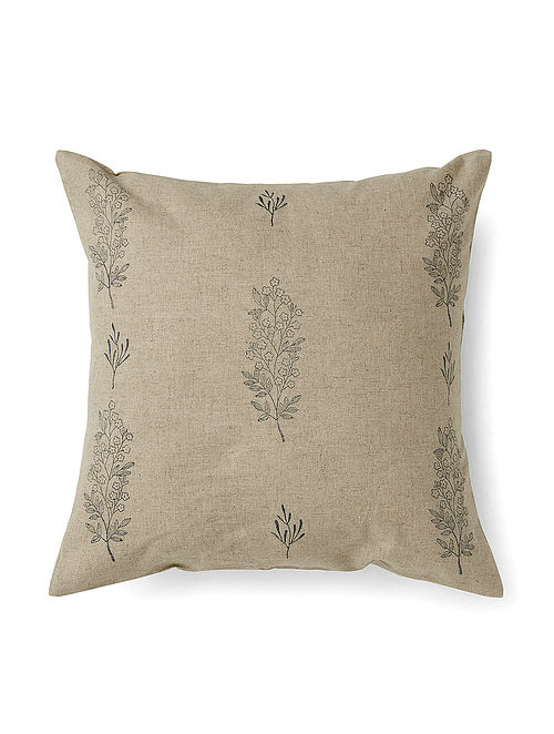 Chameli Grey Handmade Linen and Cotton Cushion Cover (16in x 16in)