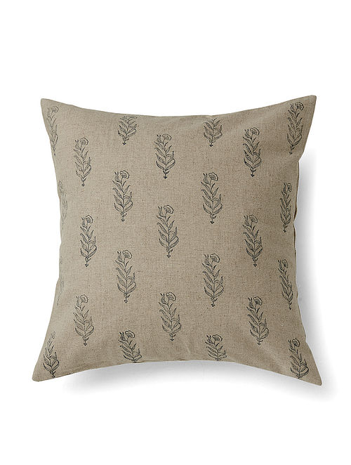 Gulaab Grey Handmade Linen and Cotton Cushion Cover (16in x 16in)