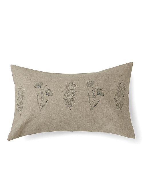 Lumbar Garden Grey Handmade Linen and Cotton Cushion Cover (14in x 22in)