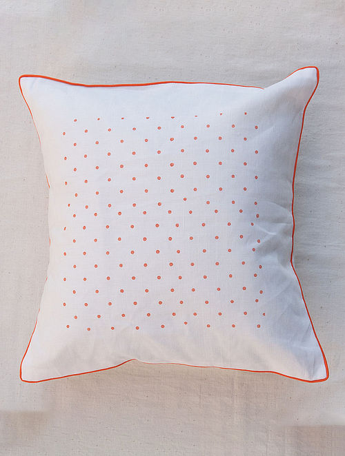 Coral Polka White Handmade Linen Cushion Cover (16in x 16in)