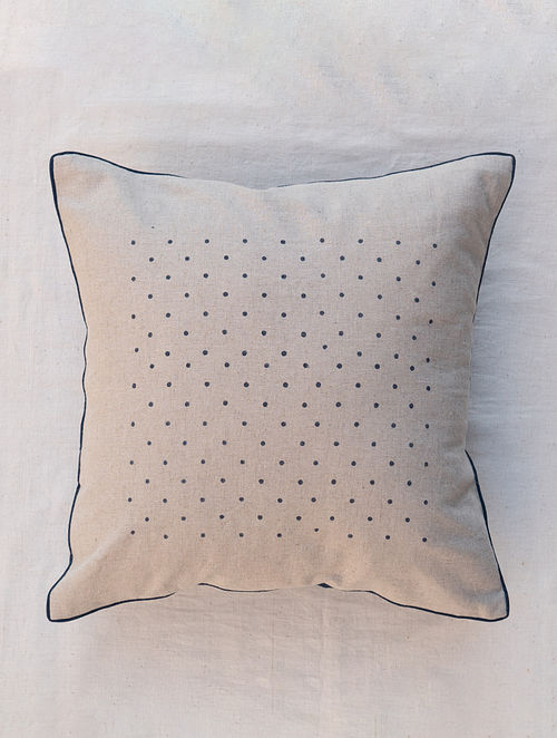 Polka White and Brown Handmade Linen and Cotton Cushion Cover (16in x 16in)