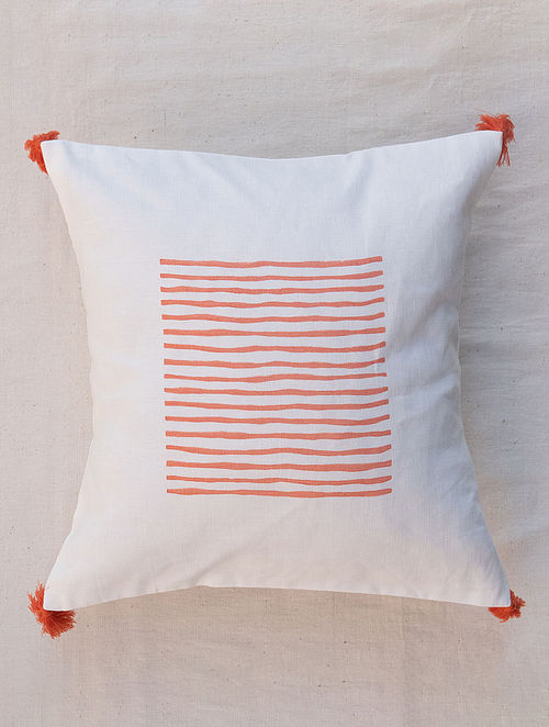 White and Coral Handmade Linen Cushion Cover (16in x 16in )
