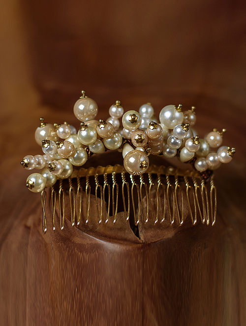 White Gold Tone Pearl Beaded Comb Clip