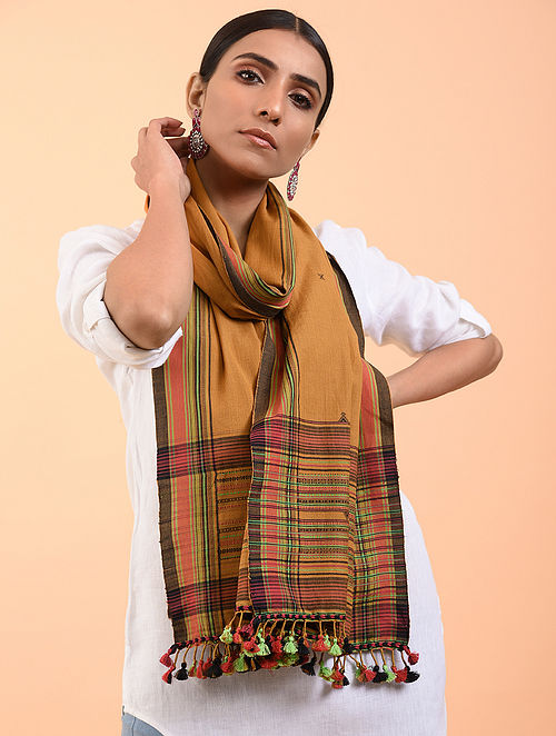 Brown-Green Cotton Stole with Tassels