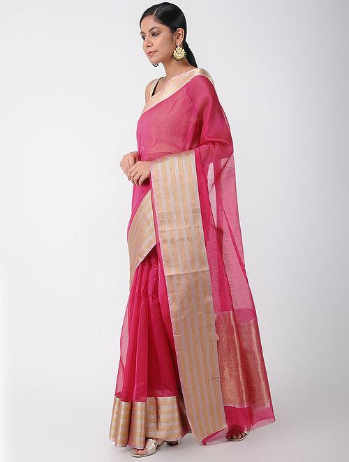 67ac3e66878 Buy Pink Chanderi Saree with Zari Online at Jaypore.com