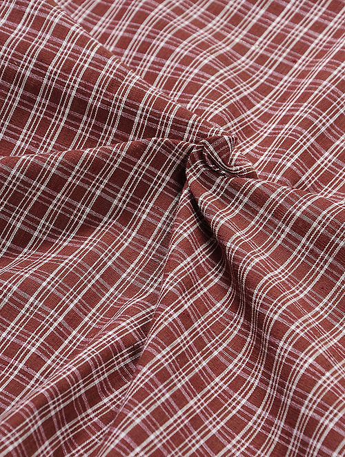 Red-Ivory Checkered Natural-dyed Malkha Fabric