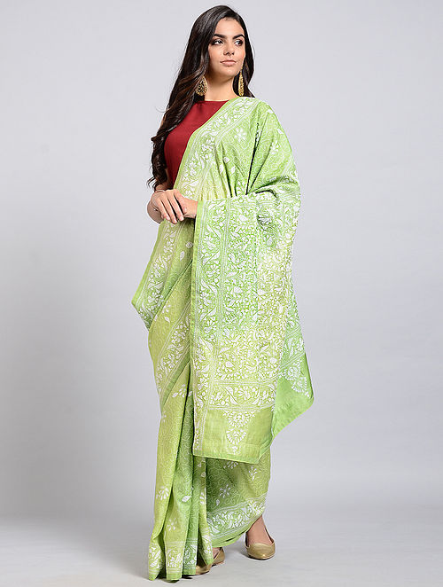 9a82f145cf Green-Ivory Kantha-embroidered Tussar Silk Saree Embroidered Sarees