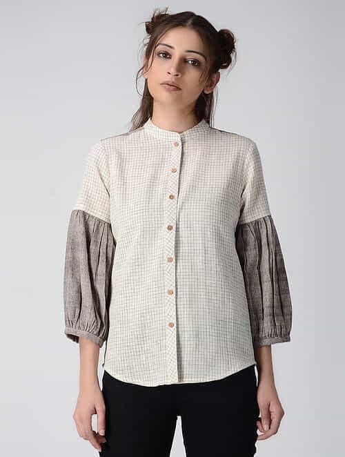 Ivory-Grey Handwoven Organic Khadi Shirt with Gathered Sleeves