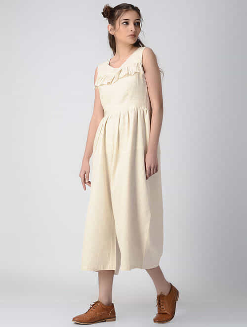 a836ffe36ff Buy Beige Handwoven Khadi Jumpsuit with Gathers Online at Jaypore ...