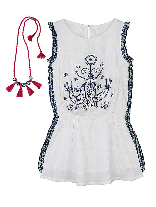 Ivory-Indigo Tribal Embroidered Cotton Dress with Handcrafted Necklace-14Yrs